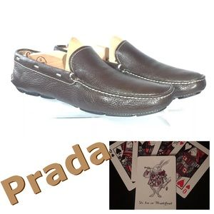 Prada Mens Leather Loafers US 8 Driving Shoe